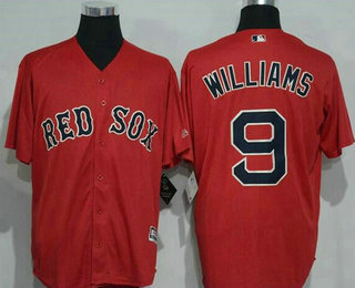 Men's Boston Red Sox #9 Ted Williams Retired Red Stitched MLB Majestic Cool Base Jersey