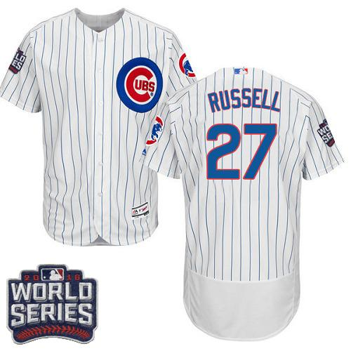 Cubs #27 Addison Russell White Flexbase Authentic Collection 2016 World Series Bound Stitched MLB Jersey