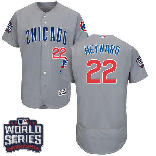 Cubs #22 Jason Heyward Grey Flexbase Authentic Collection Road 2016 World Series Bound Stitched MLB Jersey