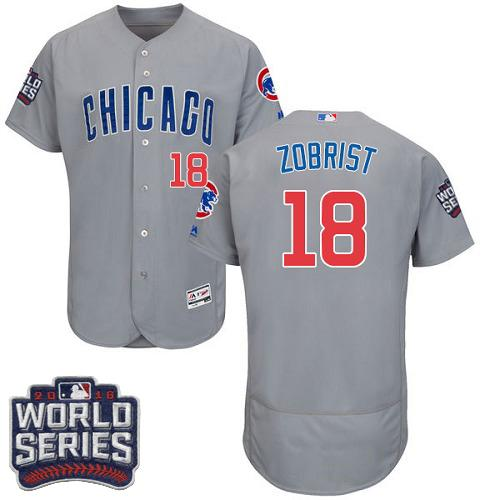 Cubs #18 Ben Zobrist Grey Flexbase Authentic Collection Road 2016 World Series Bound Stitched MLB Jersey