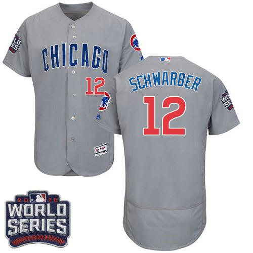 Cubs #12 Kyle Schwarber Grey Flexbase Authentic Collection Road 2016 World Series Bound Stitched MLB Jersey
