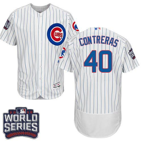 Cubs #40 Willson Contreras White Flexbase Authentic Collection 2016 World Series Bound Stitched MLB Jersey