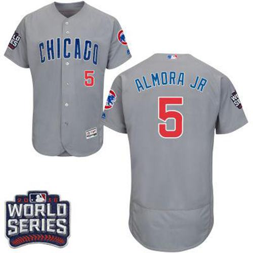Cubs #5 Albert Almora Jr. Grey Flexbase Authentic Collection Road 2016 World Series Bound Stitched MLB Jersey