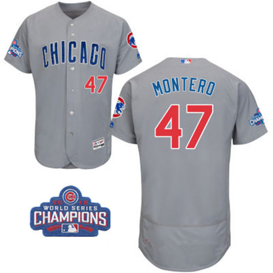 Men's Chicago Cubs #47 Miguel Montero Gray Road Majestic Flex Base 2016 World Series Champions Patch Jersey