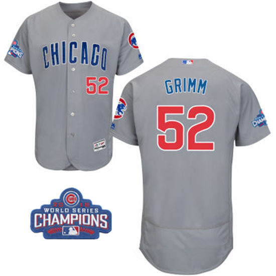 Men's Chicago Cubs #52 Justin Grimm Gray Road Majestic Flex Base 2016 World Series Champions Patch Jersey