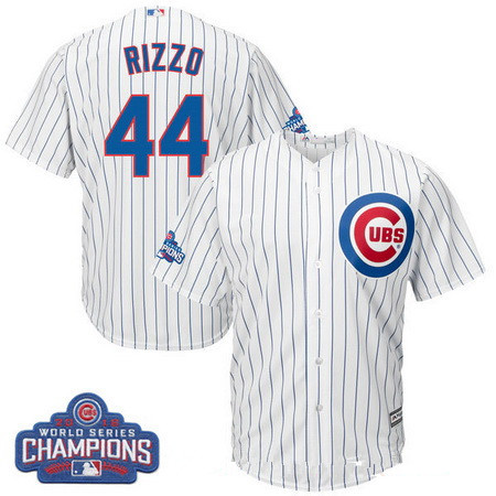 Men's Chicago Cubs #44 Anthony Rizzo Majestic White Home 2016 World Series Champions Team Logo Patch Player Jersey