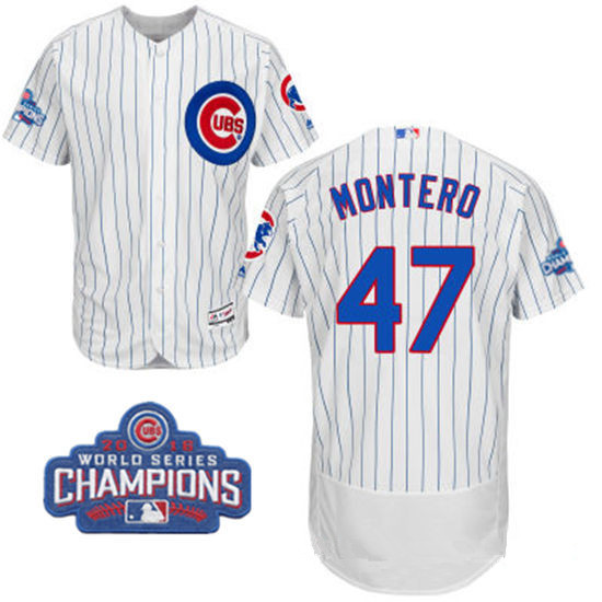 Men's Chicago Cubs #47 Miguel Montero White Home Majestic Flex Base 2016 World Series Champions Patch Jersey