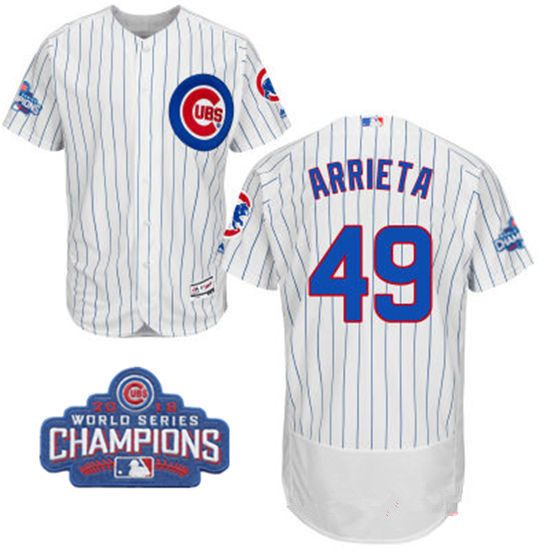 Men's Chicago Cubs #49 Jake Arrieta White Home Majestic Flex Base 2016 World Series Champions Patch Jersey