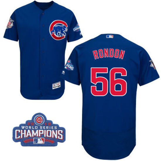 Men's Chicago Cubs #56 Hector Rondon Royal Blue Majestic Flex Base 2016 World Series Champions Patch Jersey