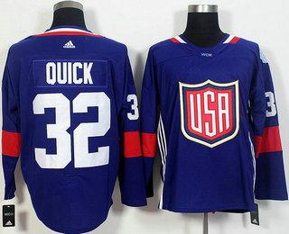 Men's Team USA #32 Jonathan Quick Navy Blue 2016 World Cup of Hockey Game Jersey