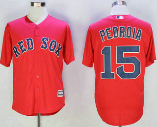 Men's Boston Red Sox #15 Dustin Pedroia Red New Cool Base Jersey