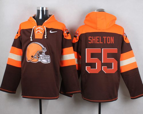 Nike Browns #55 Danny Shelton Brown Player Pullover NFL Hoodie