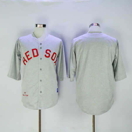 Men's Boston Red Sox Babe Ruth Blank 1914 Gray Stitched MLB Throwback Jersey By Mitchell & Ness
