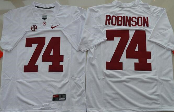 Men's Alabama Crimson Tide #74 Cam Robinson White Limited Stitched College Football Nike NCAA Jersey