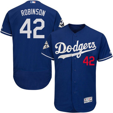 Men's Los Angeles Dodgers #42 Jackie Robinson Blue Flexbase Authentic Collection 2017 World Series Bound Stitched MLB Jersey
