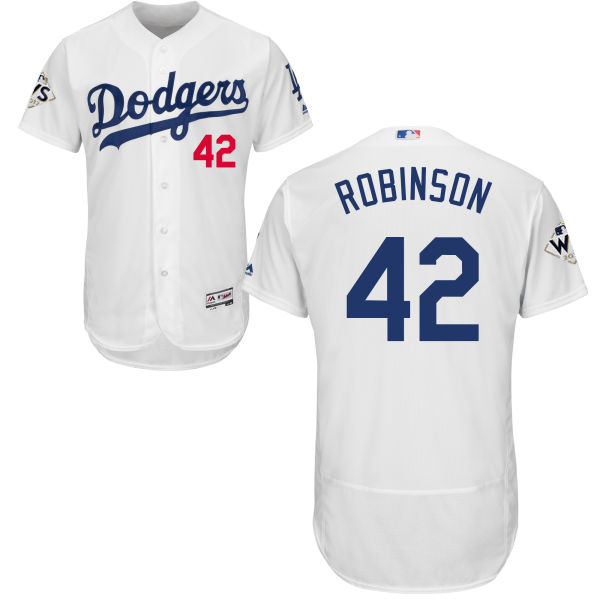 Men's Los Angeles Dodgers #42 Jackie Robinson White Flexbase Authentic Collection 2017 World Series Bound Stitched MLB Jersey