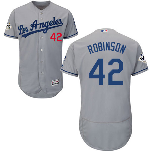 Men's Los Angeles Dodgers #42 Jackie Robinson Grey Flexbase Authentic Collection 2017 World Series Bound Stitched MLB Jersey