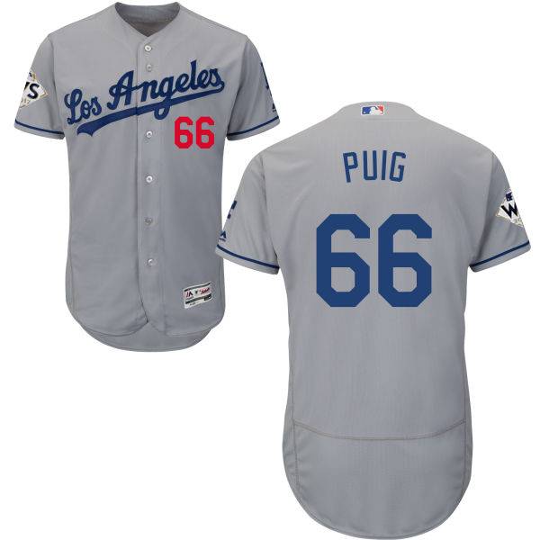 Men's Los Angeles Dodgers #66 Yasiel Puig Grey Flexbase Authentic Collection 2017 World Series Bound Stitched MLB Jersey