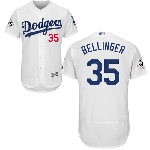 Men's Los Angeles Dodgers #35 Cody Bellinger White Flexbase Authentic Collection 2017 World Series Bound Stitched MLB Jersey