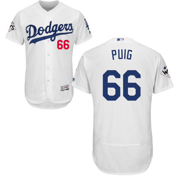 Men's Los Angeles Dodgers #66 Yasiel Puig White Flexbase Authentic Collection 2017 World Series Bound Stitched MLB Jersey
