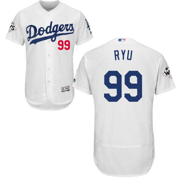 Men's Los Angeles Dodgers #99 Hyun-Jin Ryu White Flexbase Authentic Collection 2017 World Series Bound Stitched MLB Jersey
