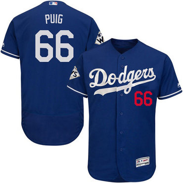 Men's Los Angeles Dodgers #66 Yasiel Puig Blue Flexbase Authentic Collection 2017 World Series Bound Stitched MLB Jersey