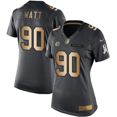 Women's Nike Pittsburgh Steelers #90 T. J. Watt Black Stitched NFL Limited Gold Salute to Service Jersey