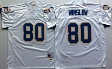 Chargers 80 Kellen Winslow White Throwback Jersey