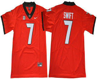 Men's Georgia Bulldogs #7 D'Andre Swift Red Limited 2017 College Football Stitched Nike NCAA Jersey