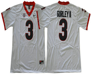Men's Georgia Bulldogs #3 Todd Gurley II White Limited 2017 College Football Stitched Nike NCAA Jersey