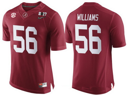 Men's Alabama Crimson Tide #56 Tim Williams Red 2017 Championship Game Patch Stitched CFP Nike Limited Jersey