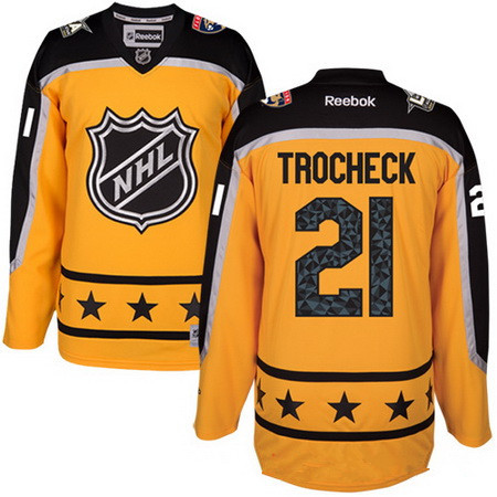 Men's Atlantic Division Florida Panthers #21 Vincent Trocheck Reebok Yellow 2017 NHL All-Star Stitched Ice Hockey Jersey