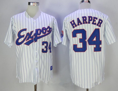 Men's Montreal Expos #34 Bryce Harper Majestic 1982 White Pinstripe Stitched MLB Cooperstown Collection Jersey