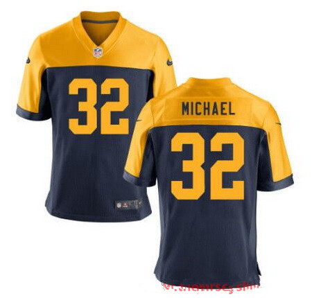 Men's Green Bay Packers #32 Christine Michael Navy Blue Gold Alternate Stitched NFL Nike Elite Jersey