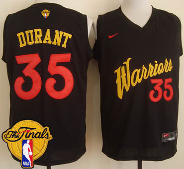 Mens's Warriors #35 Kevin Durant Black Fashion 2017 The Finals Patch Stitched NBA Jersey