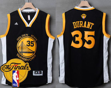 Men's Warriors #35 Kevin Durant Black White 2017 The Finals Patch Stitched NBA Jersey