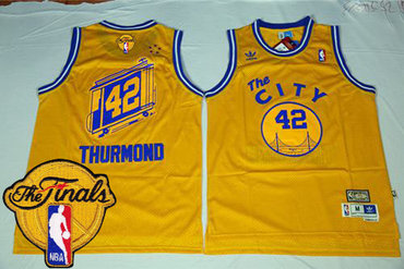 Men's Warriors #42 Nate Thurmond Gold Throwback The City 2017 The Finals Patch Stitched NBA Jersey