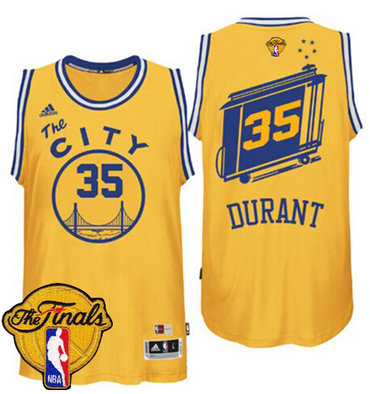 Men's Warriors #35 Kevin Durant Gold Throwback The City 2017 The Finals Patch Stitched NBA Jersey