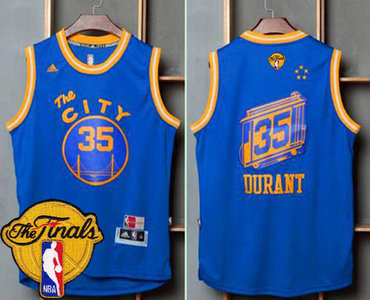 Men's Warriors #35 Kevin Durant Blue Throwback The City 2017 The Finals Patch Stitched NBA Jersey