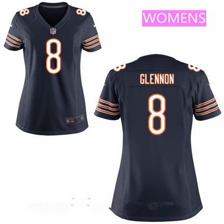 Women's Chicago Bears #8 Mike Glennon Navy Blue Team Color Stitched NFL Nike Game Jersey