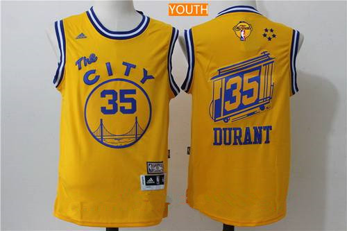 Youth Golden State Warriors #35 Kevin Durant Yellow The City Revolution 30 Swingman 2017 The NBA Finals Patch Jersey