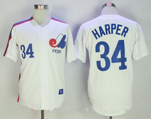 Men's Montreal Expos #34 Bryce Harper Majestic 1982 White Stitched MLB Cooperstown Collection Jersey