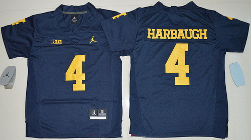 Youth Michigan Wolverines #4 Jim Harbaugh Navy Blue Stitched NCAA Brand Jordan College Football Jersey