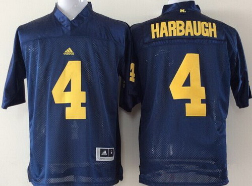 Youth Michigan Wolverines #4 Jim Harbaugh Navy Blue Stitched NCAA Nike College Football Jersey