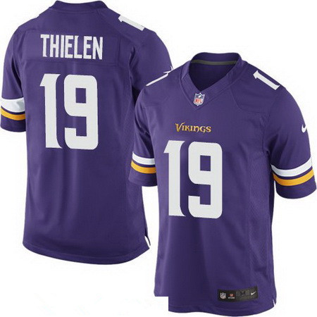 Youth Minnesota Vikings #19 Adam Thielen Purple Team Color Stitched NFL Nike Game Jersey