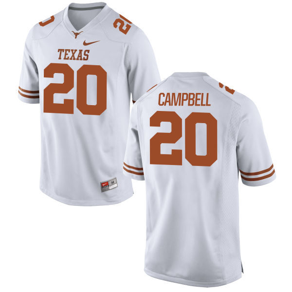 Men's Texas Longhorns 20 Earl Campbell White Nike College Jersey