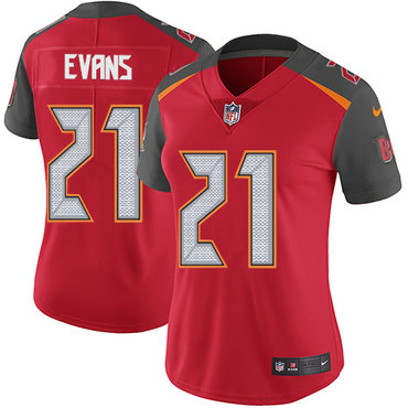 Women's Nike Buccaneers #21 Justin Evans Red Team Color Stitched NFL Vapor Untouchable Limited Jersey