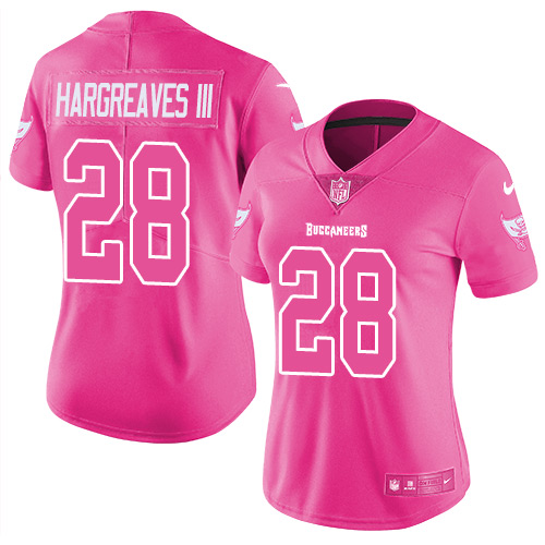 Nike Buccaneers #28 Vernon Hargreaves III Pink Women's Stitched NFL Limited Rush Fashion Jersey
