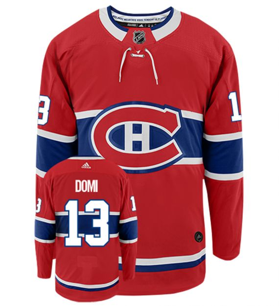 Men's Montreal Canadiens #13 Max Domi Adidas Authentic Home NHL Hockey Jersey