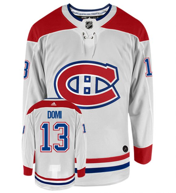 Men's Montreal Canadiens #13 Max Domi Adidas Authentic Away NHL Hockey Jersey